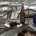 conch fritters and a cold beer dockside