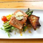 Wild Pacific Sockeye Salmon with seasonal accompaniment.