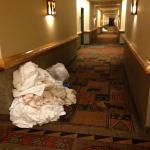 Linen piles in the hall every day