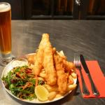 Gurnard with chips and salad