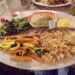 Le fameux loup de mer bio avec ses assortiments