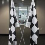 Winning cross flags after winning that weekend race