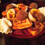 Fat Elvis Waffle. Peanut butter waffle, sassy cow chocolate ice cream, caramelized bananas, and