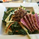 Quinoa and kale salad with Ahi tuna