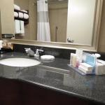 Lots of counter space, nice bath products