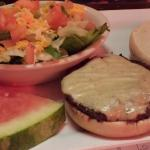 Kids cheeseburger and side salad