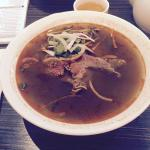 Tom Yum Pho; hot & sour Thai sauce, Beef (chocies are shrimp, beef, chicken, seafood)