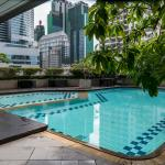 Outdoor swimming pool with kid's wading pool