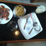 A quite lunch inside hotel room
