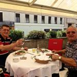 Zdravko & Jerko enjoying their barbecued calamari with spinach & potato salad