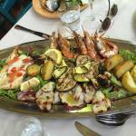 Grilled fish and seafood for two