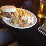 Cheese & bacon Burger and Chicken Curry with Chips