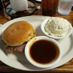 BBQ Beef Sandwich, dipping BBQ sauce, and White Potato Salad