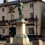 Oliver Cromwell statue outside Golden Lion
