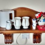 Tea and coffee making supplies (with fresh milk, provided on arrival)