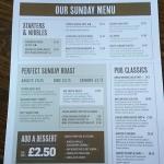 Sunday menu...