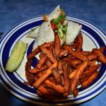 Veggie Wrap with Sweet Potato Fries