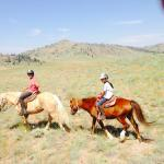 """kids on the trail -my daughter did not want a large horse, so she had """"Brave"""" a perfect pony!"""