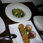 Shrimp cakes and stir fry vegetables