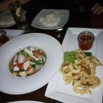 Tom yam seafood and deep fried squid