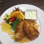 Dill battered Barra & chips with caper aioli