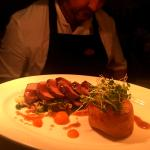 Pan Seared Slaney Valley Lamb with Potato Fondant on Savoy with a squash puree