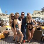 at nikki beach in front of ME hotel (dress less to impress party)