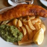 The excellent fish, peas and real chips at The Bridge Inn, Santon Bridge