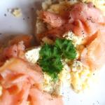 Smoked salmon and scrambled eggs breakfast