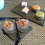 mousse de chocolat, lard et macaron