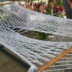 Recent photos small pool, dirty and old furniture, holes in hammocks, no sunset because of priva