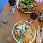 BLT Pizza and Chinese Almond Salad from Toast in Novato, CA