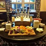 Complimentary wine and cheese happy hour in the hotel every afternoon