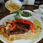 400gram steak with a 1/2 red claw lobster