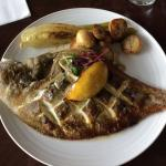 Whole baked local plaice with roasted fennel and Cornish new potatoes. Really fresh and so tasty