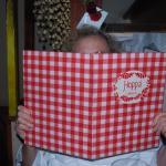 A happy visitor at Hoppa restaurant