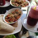 Wrap, salad and mixed berry smoothie