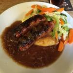 Heavenly sticky toffee pudding and delicious local sausages and mash!