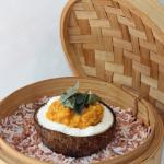 Red lentil cooked in coconut milk with organic spices & red rice