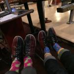 We forgot our socks And luckily they had these super cool socks to sell us.