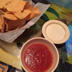 Chips, salsa, & some white stuff? Spicy ranch? I'm not sure.