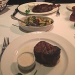 Delicious donut desert and filet mignon with Brussel sprouts