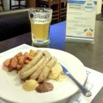 Sausages with 'fried' potatoes