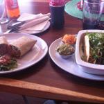 chicken buritto and taco