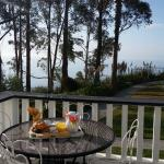 Breakfast on the deck, just outside the Ocean View and Lilac Rooms