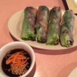 Bbq beef spring rolls with hoison dipping sauce