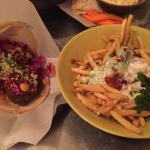 Left: Falafel sandwich // Right: feta fries
