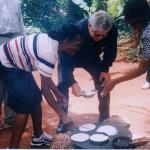 Butch Stewart making cassava - Bammy bread