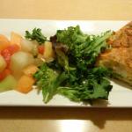 Serving of chicken/asparagas quiche