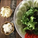 Salad, with homemade fresh ricotta cheese